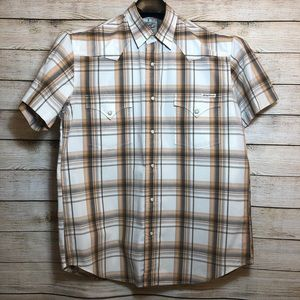 Lucky Brand Western Style Plaid White Brown Shirt